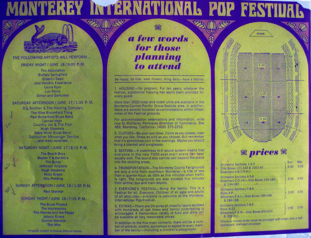 Inside of the Monterey Pop Festival Program